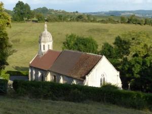 Brucourt Eglise en premier plan Vue des Annonciades 10 août 17