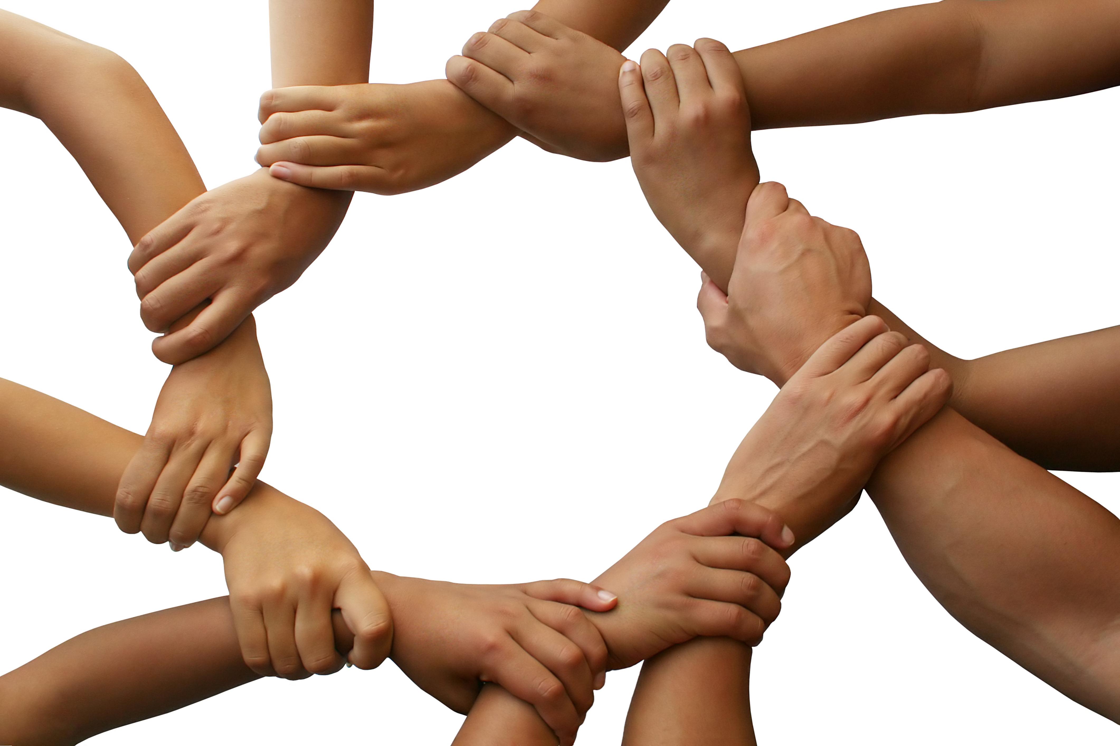 Mains ensemble formant un cercle